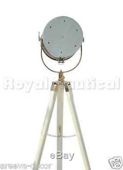 Nautical White Finish Spot light Tripod Nautical Wooden Vintage Decor Floor Lamp