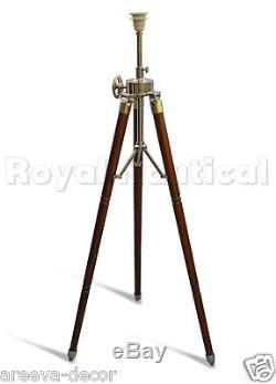 Nautical Wood Teak Vintage Finish Floor Lamp Wooden Tripod Stand Without Shade