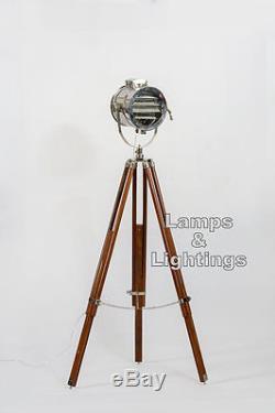 Nautical Wooden Tripod Floor Lamp Searchlight Vintage Home Decor Ralph Lauren