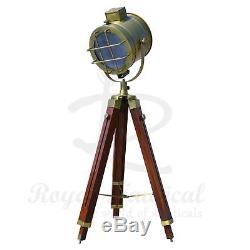 Nautical Wooden Tripod LED Lighting Floor Lamp Vintage Antique Style Marine