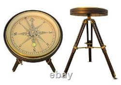 Nautical brass large 35 cm compass with wooden tripod stand vintage coffee table