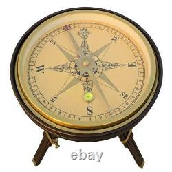 Nautical brass large compass 35 cm with wooden tripod stand vintage coffee table