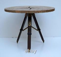 Nautical compass style wooden rounder table tripod stand tea coffee home decor