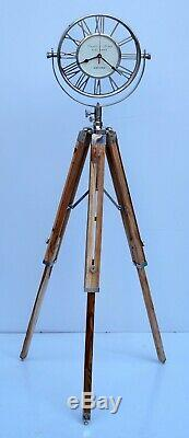 Nautical floor clock vintage with wooden tripod maritime home decorative gift