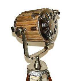 Nautical floor lamp vintage wooden spotlight searchlight with wooden tripod gift