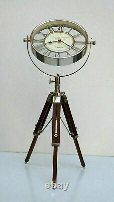 Nautical maritime vintage brass table desk clock with wooden tripod stand decor