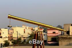 New solid brass nautical telescope with wooden tripod stand unique Vintage gift