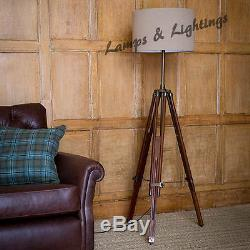 Oak Wood Vintage Tripod Floor/Table Lamp Steampunk/Industrial Home Decor Light