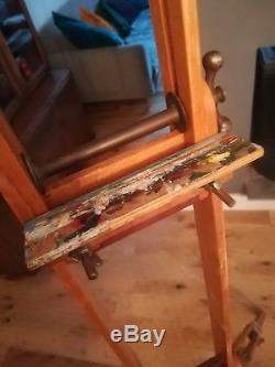 Old Vintage Beech & Mahogany Wooden Artists Tripod Easel