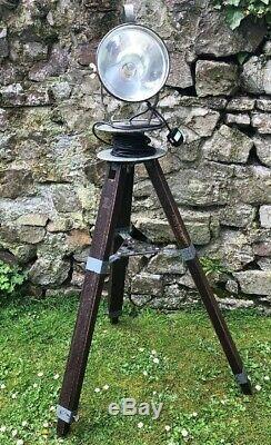 Old Vintage Rustic Wooden Adjustable Tripod Spot Lamp Light One Off