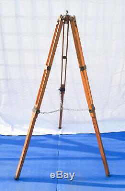 Old Wood Tripod Reflector Stand Floor Lamp Industrial Vintage Loft Design 125cm