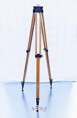 Old Wood Tripod Reflector Stand Floor Lamp Industrial Vintage Loft Design 153cm
