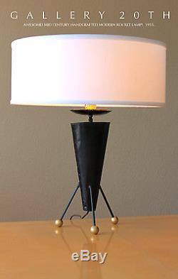 Ooak! MID Century Modern Atomic Rocket Lamp! Eames 50s Vtg Tripod Sputnik Ufo