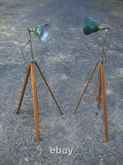Pair (2) Vintage Antique Industrial Adjustable Wood Tripod Lamps Green Shades