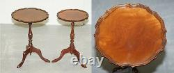 Pair Of Bevan Funell His & Her Vintage Mahogany Tripod Lamp Side End Tables