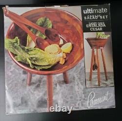 Pomerantz Ultimate 17 Salad Bowl & 34 Tripod Stand Set + Servers VINTAGE NEW