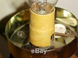 Pr Vtg Mid Century Modern Plastic Beehive Atomic Tripod Lamps
