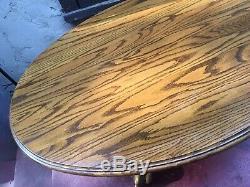 RARE OVAL Oak Coffee Table Tripod Pedestal Unique Grains Lion Bear Paws Vintage