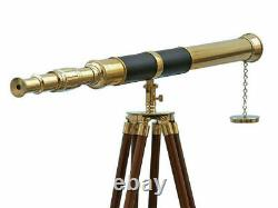 R. T. Vintage Brass Telescope On Wooden Tripod Maritime Nautical 60 Tall Replica