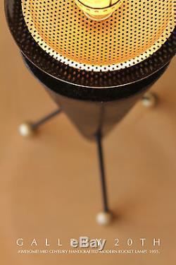 Rare! MID Century Modern Atomic Rocket Lamp! Eames Era 50's Vtg Tripod Table 60s