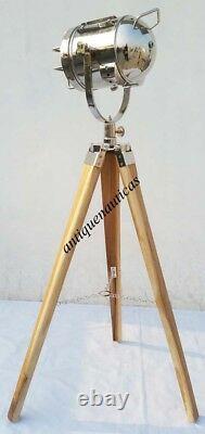 Retro Spot Light Designe Nautical Spot Searchlight Vintage Style WithWooden Tripod