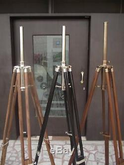 Set Of 3 Designer Nautical Wooden Tripod Floor Lamp-Shade Stand Vintage Decor