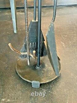 Seymour Vtg Mid Century Danish Modern Tripod Wrought Iron Wood Fireplace Tools