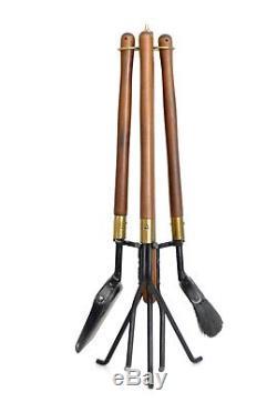 Seymour Vtg Mid Century Danish Modern Walnut Wood Tripod Fireplace Fire Tools