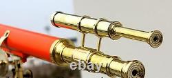 Solid Brass Leather Telescope Nautical With Stand Wooden Tripod Vintage Scope