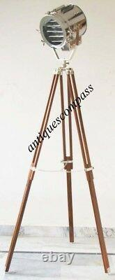 Spot Searchlight Floor Lamp With Wooden Tripod Stand Nautical Vintage Designer