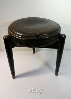 Stool tripod wooden & leather scandinavian Vintage Design stool 60'S