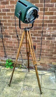 Strand Theatre Light on Vintage Wooden Surveyor Tripod Base