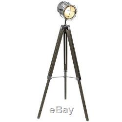 Stunning Vintage Style Hollywood Tripod Floor Lamp Chrome Spotlight Wooden Legs