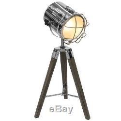 Stunning Vintage Style Hollywood Tripod Table Lamp Chrome Spotlight Wooden Legs