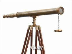 TELESCOPE 39 Inch Spyglass Vintage Antique Single Barrel With Wooden Tripod