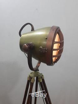THEATER Vintage decorative Spotlight Hollywood Lamp with heavy Wooden Tripod