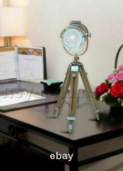 Table Lamp Vintage Light Nautical Spotlight Wooden Tripod Stand Chrome Finish