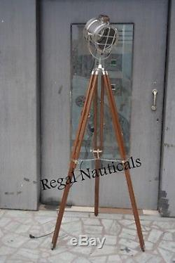 Theater Vintage FLOOR SEARCH LIGHT WITH TRIPOD Nautical Wooden Spot Light Lamp