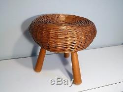 Tony Paul Wicker Tripod Stool Vintage Mushroom Button Rattan Ottoman Mid Century