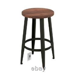 Tripod Chair Wood Vintage Backless Metal Counter Stools Round Foot Rest (2-Pack)