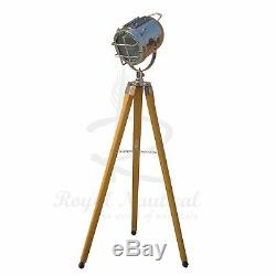 Tripod Floor Lamp Spotlight Stage Designer LED Light Nautical Vintage Style