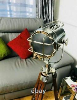 Tripod Floor Lamp Vintage Led Wooden Spotlight Nautical Antique Style Light Uk