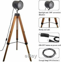 Tripod Spotlight Floor Lamp Vintage Retro Light Industrial Wooden Lighting Large