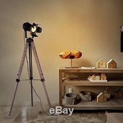 Tripod Spotlight Floor Lamp Vintage Retro Light Industrial Wooden Lighting New