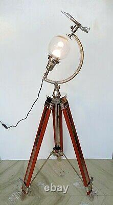 Tripod floor big lamp vintage nautical style home office industrial decorative
