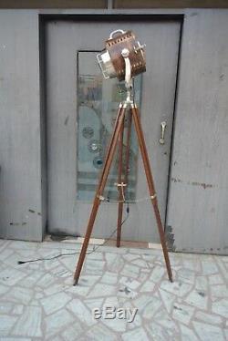 UK Pattern 1950's Wood Studio Vintage Design Industrial Tripod Floor Lamp Wood