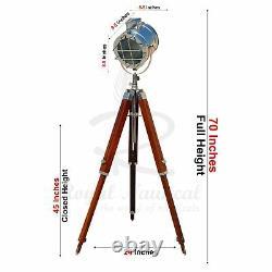 USED Tripod Floor Lamp Wooden Vintage Style E27 White LED Brown Spotlight