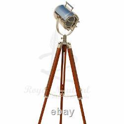 USED Wooden Tripod Floor Lamp Vintage LED Spotlight Nautical Antique Style