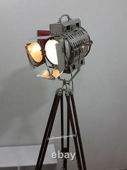 VINTAGE Big Nautical Searchlight Floor Lamp/ Theater Spot Light Wooden Tripod