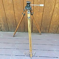 VINTAGE RIES HOLLYWOOD WOOD WOODEN TRIPOD + BACO TILT PAN HEAD No. 1200 Mod. C